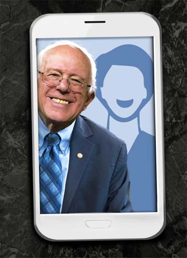 Funny Funny Political Card Add Your Photo Bernie Selfie Bernard Sanders politics democrat republican USA political president candidate white house camera suit picture perfect, Hope your Birthday is Picture-Perfect!